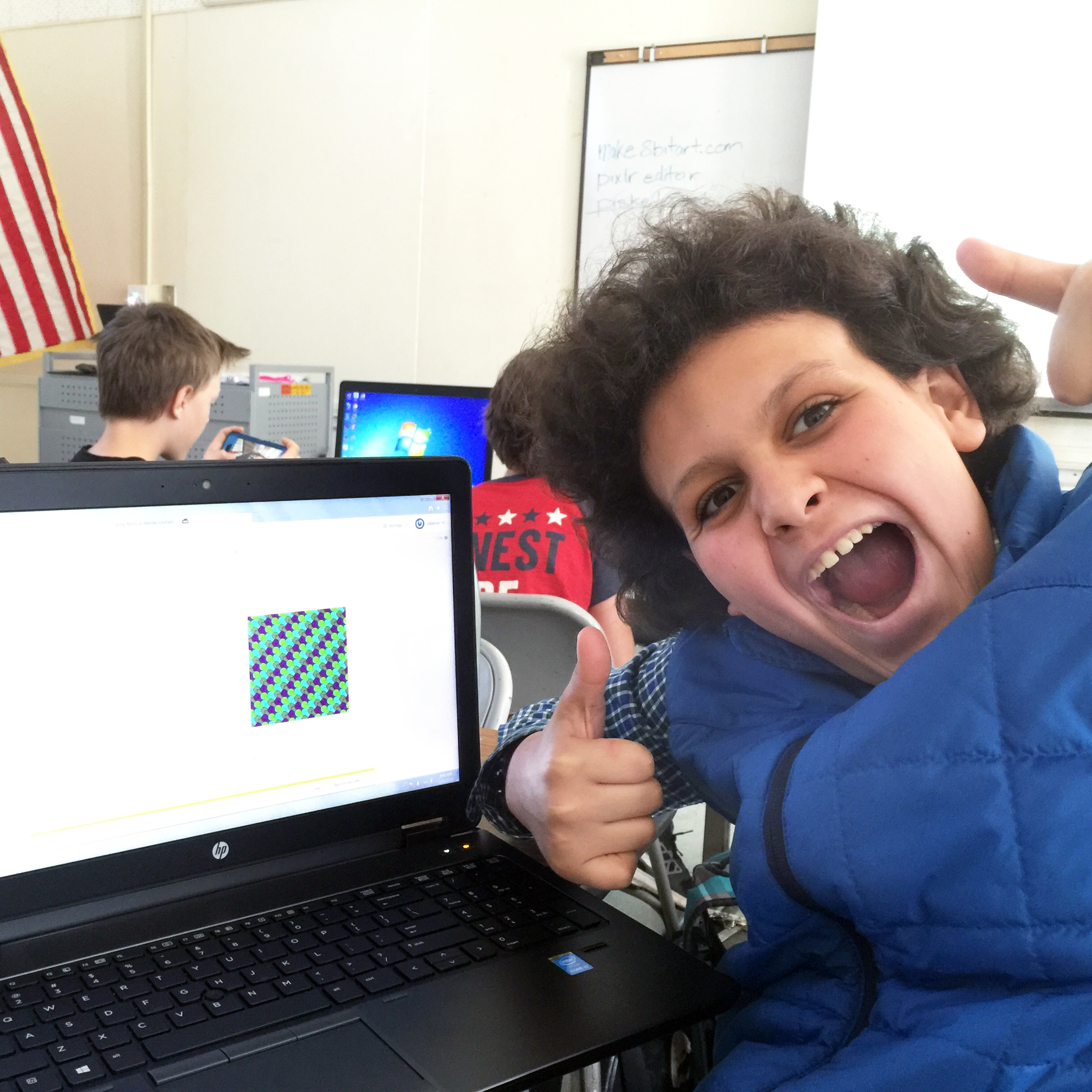 Happy kid learning how to code